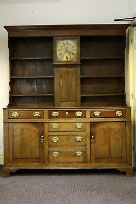 Georgian Oak Welsh Dresser With Built In Internal Clock 30 Hour Long Case