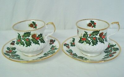 2 Rosina Queens Yuletide Footed Cup & Saucer Sets Tea Cup Saucer EROS