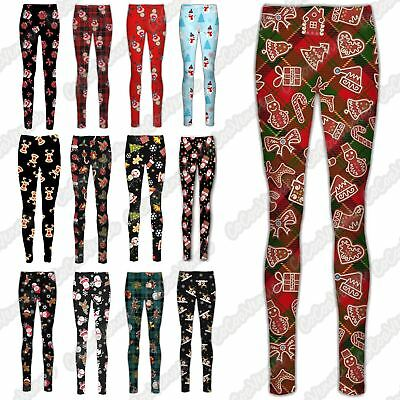 New Girls Ladies Christmas Xmas Santa Elf Reindeer Stretch Leggings Trouser Pant