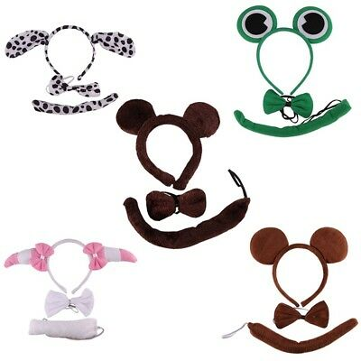 ANIMAL EARS BOW TAIL SET Costume Accessory Fancy Dress Party Kids Adults Kit UK