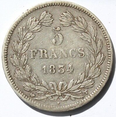 Frankreich 5 Francs 1834 T, Nantes , Louis Philippe I , Silber , KM#749.12