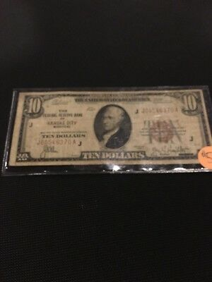 1929 $10 National Currency Bank Of Kansas Note! Great Condition!