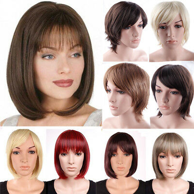 Women Ladies Real Natural Short Straight Hair Wigs Bob Style Cosplay Full Wig A