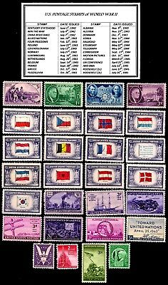 COMPLETE Vintage Set of every U.S. Commem. Postage Stamp Issued During WWII