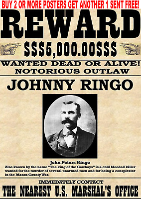 Old West Wanted Poster Outlaw Tombstone Earp Holliday Doc Cowboy Western Ringo