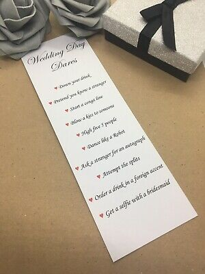 x12 Wedding Day Dares Game Cards Activity Pack Table Decoration