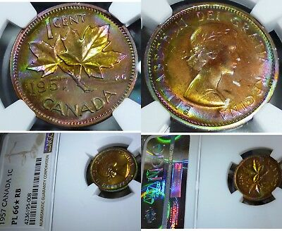 Toned Wild Colours - Canada 1957 Penny  - Highest Ngc Grade Pl66 Star