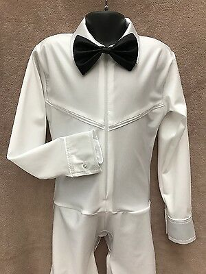 Boys' White Ballroom/Latin Shirt with Black Bow tie.Sizes: 5-6,7-8,9-10,11-12