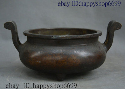 Old Chinese Dynasty Palace Pure Bronze Incense Burner Censer Incensory Thurible