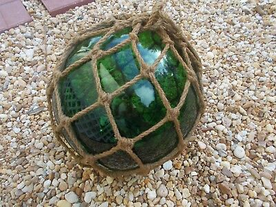 """Vintage  Fishing Float/Buoy Hand Blown Glass  Emerald Green 39"""" Round"""