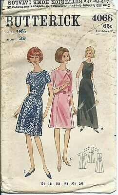 B 4068 sewing pattern 60's Half size DRESS elegant shoulder drape retro chic 18½