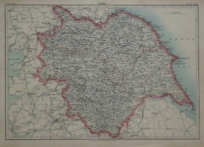 Original 1890 Shire Map YORK England Halifax Leeds Whitby Keighley Selby Moras