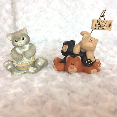 """Enesco Calico Kitten Cleanliness """"Good-As-New"""" and Three Cat Pile-Up Figurines"""