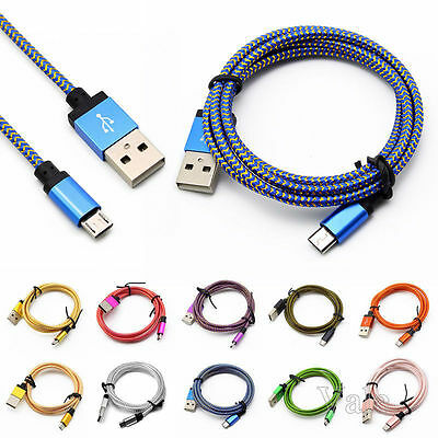 1/2/3M Metal Braided USB Data Sync Charger Cable Lead For iPhone 6S 7 8 Samsung