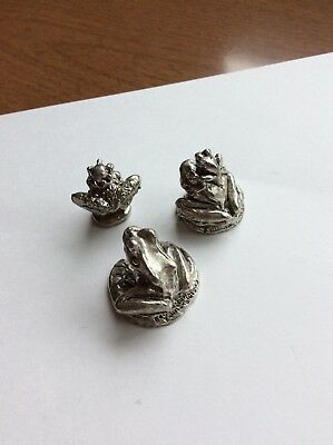 Lot Of 3 Vintage Pewter Figurines Frogs