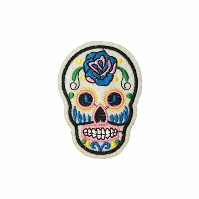 Pale Blue Sugar Skull (Iron On) Embroidery Applique Patch Sew Iron Badge