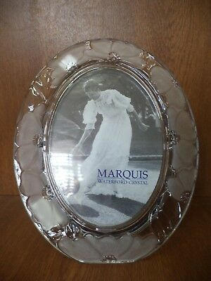 Waterford Marquis Crystal Floral 5` x 7` Oval Photo Frame - 9.5 x 7.75 inch