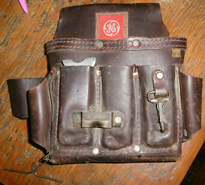 Vintage General Electric Appliance Repairman Leather Tool Pouch GE Patch Mexico