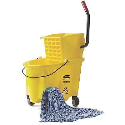 Rubbermaid Mop Bucket Sponge with Wringer Janitorial Heavy Duty Large Janitor