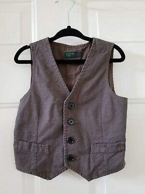 United Colors of Benetton Brown Cotton Micro Gingham Vest 2T