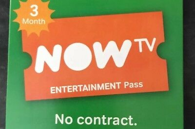 Now TV Entertainment 3 Month Pass. Brand New