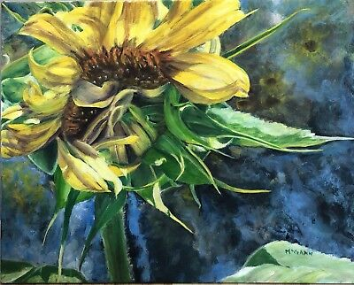 Original Oil On Canvas By Artist- Sunflowers  - 16 X 20 - $400