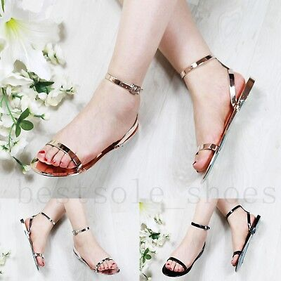 178cdaff82c270 Ladies Women Flat Retro Jelly Sandals Summer Beach Ankle Strap Holiday Shoes  Siz