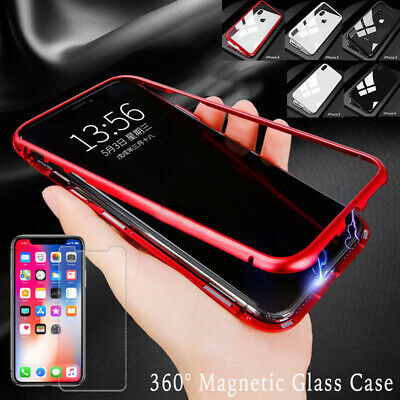 Magnetic Adsorption Metal Case For iPhone 8 Plus XR XS Max Tempered Glass Cover