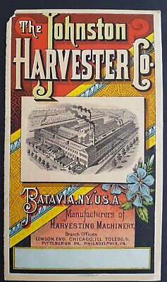 The Johnston Wrought Iron Harvester Co. Advertising Card - King of the Reapers