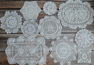 10 Crochet White Lace Doilies Lot in bulk Country Wedding Coasters Table Runners