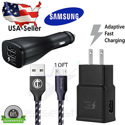 OEM Samsung Galaxy S6 S7 Note 4 5 Fast Charging USB Car&Wall Charger+ 6FT Cable