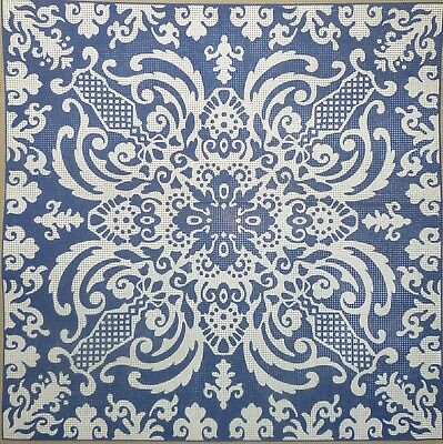 DMC 'DELFT' blue and white TAPESTRY NEEDLEPOINT CANVAS ONLY - 10 COUNT - VINTAGE