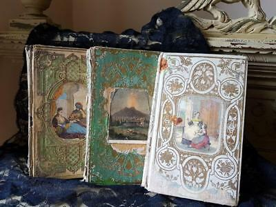 19thC Antique French Timeworn Vintage Decorative Prize Books,Shabby Chic Display