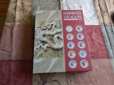 2012 Australian Year Of The Dragon 10 Coin Color Silver Proof Set Series Ii
