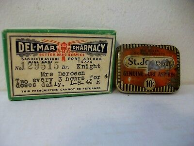 Antique Del Mar Pharmacy Cardboard Prescription Pill Box Plus St. Joseph Tin