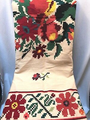 Vintage Wool Floral Blanket Boho Gypsy Fringed Folk Art Throw Bright Colors
