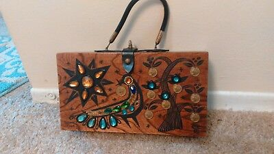 Enid Collins Handbag Wooden Coins Jeweled Peacock Money Tree II -some scratches