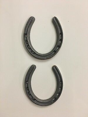 """2 Cast Iron Metal Lucky Horseshoes Western Lone Star Texas Rustic Decor 4 3/8"""""""