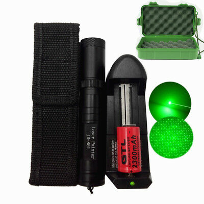 Green 1mW 532nm Laser Pointer Pen Visible Beam Ray +16340 Battery +Charger +Case