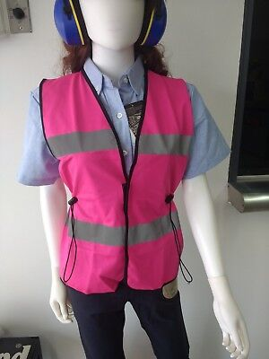 LADIES Pink Safety Vest Fitted High Visibility small size Free Shipping