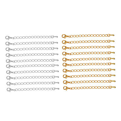 20 Pcs Jewelry Findings 70 mm Extension Chain for Necklaces Gold & White K