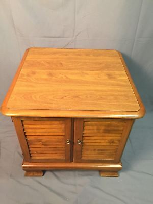 Ethan Allen Vinyl Album Cabinet Vintage Record Storage Side Table Made In USA