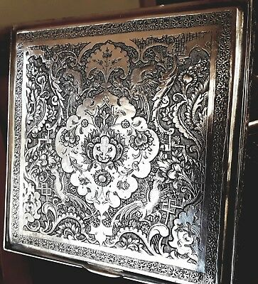 Antique Silver Isfahan Persian Table Top Vanity Cigarette Box By Vahhab
