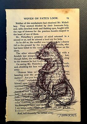 Wise Old Mouse Ballpoint Pen Original Art Antique Book Page