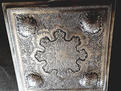 Antique Silver Isfahan Persian Table Top Vanity Cigarette Box High Relief
