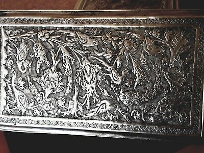 Antique Silver Isfahan Persian Vanity Cigarette Box High Relief Ball Feet