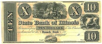 1840s STATE BANK $10 OBSOLETE CURRENCY SPRINGFIELD, ILL NOTE CONDITION AU / CU
