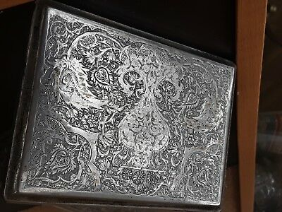 Antique Silver Persian Esfahan Cigarette Box Case Signed And Stamped