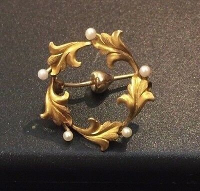 Edwardian 14k Yellow Gold Leaves & Seed Pearl Circle Pin C-clasp Brooch 3.5g