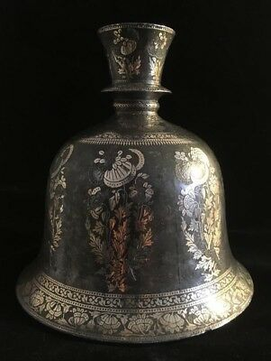 """Exquisite Antique Silver Overlay Ships Decanter w/Weighted Base. 6""""X 6.5"""""""